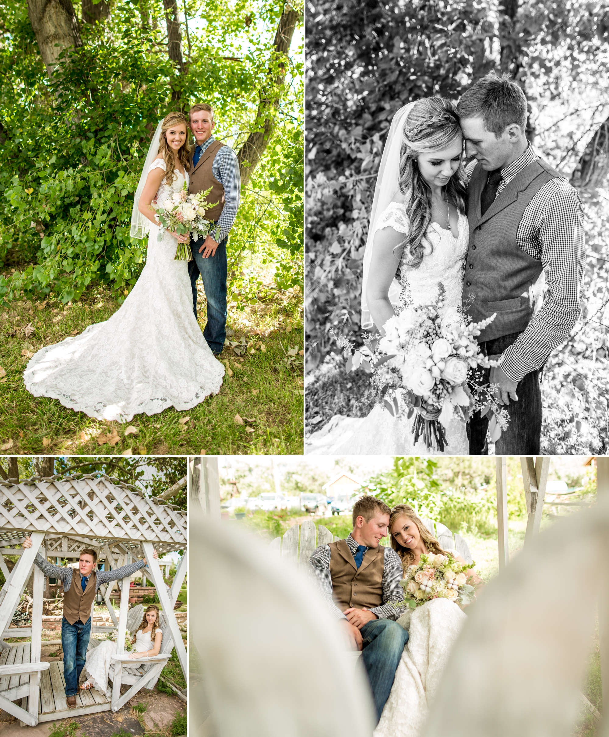 Ya Ya Farm & Orchard - Bride and groom photos under the big cottonwood and on the porch swing!
