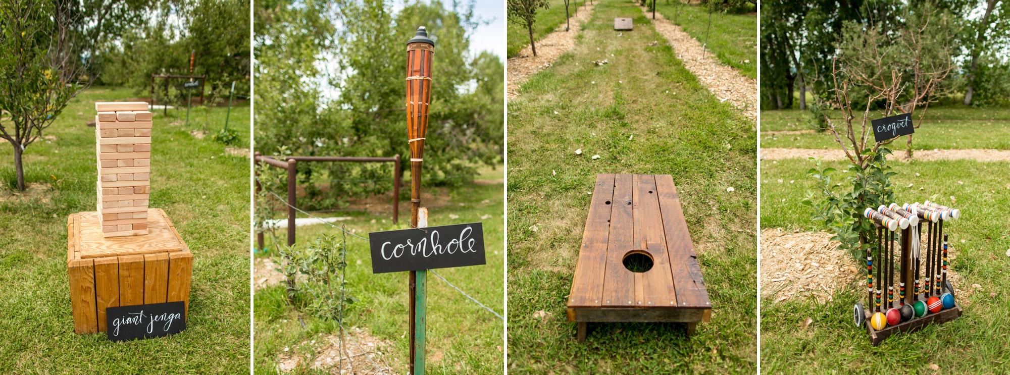 Giant jenga, cornhole, croquet are a must for farm wedding festivities!