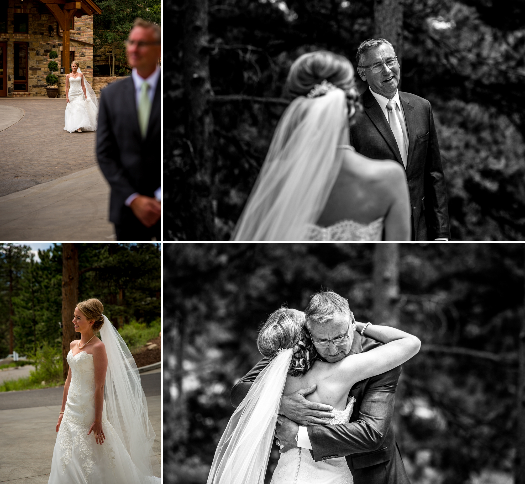 Father-daughter first look -Della Terra Mountain Chateau Wedding Photographer