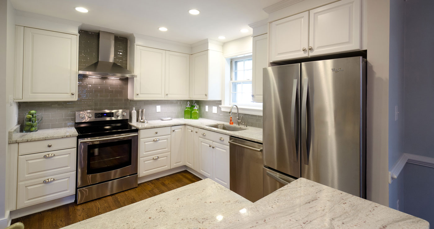 Kitchen Remodel with Stainless Steel Appliances, Slow Close Cabinet Drawers, Wall Mount Stainless Steel Range Hood