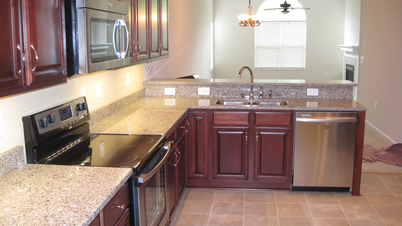 Cherry Wood Cabinets, Stainless Steel Appliances, Kitchen Remodel