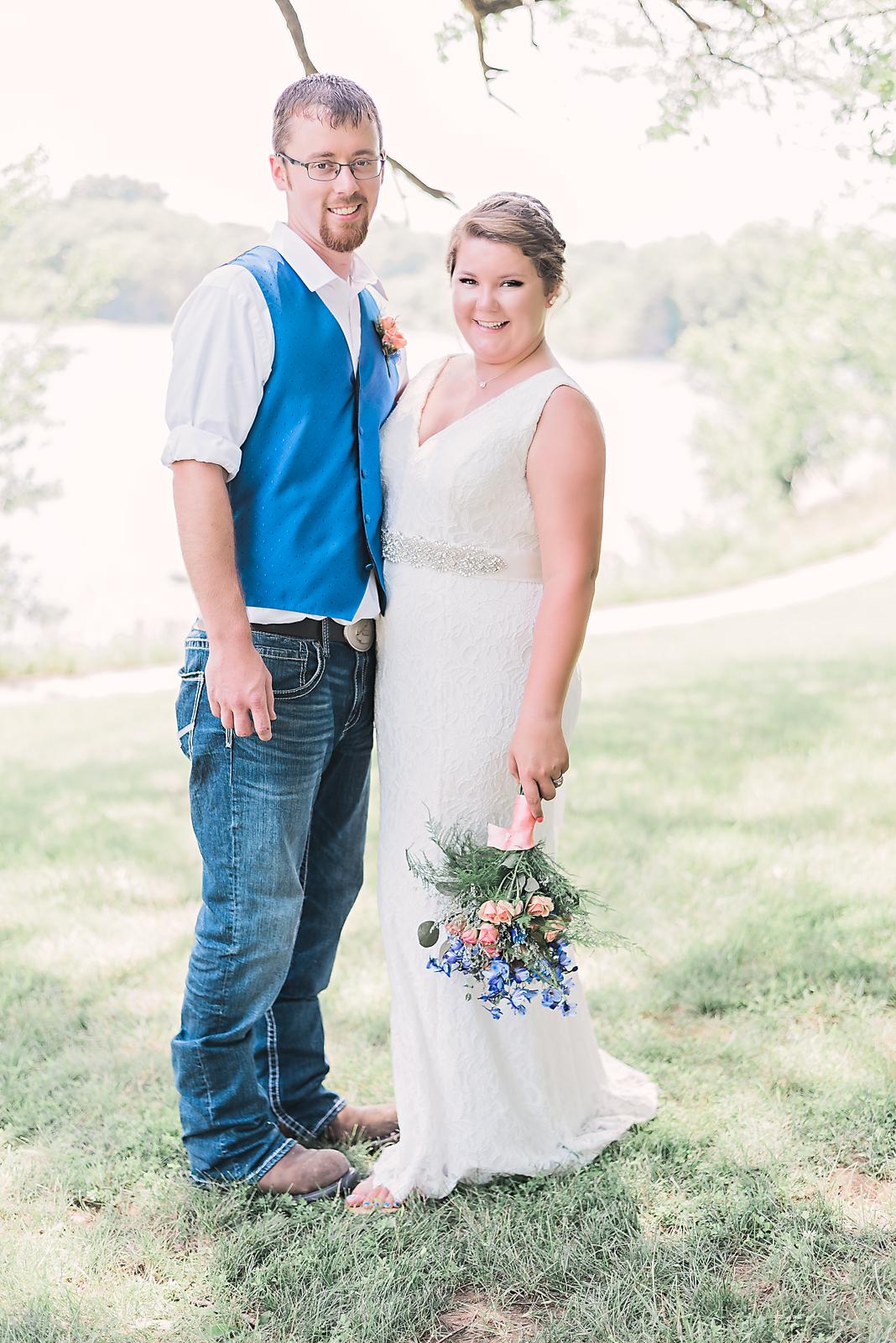 bride and groom portrait outside illinois