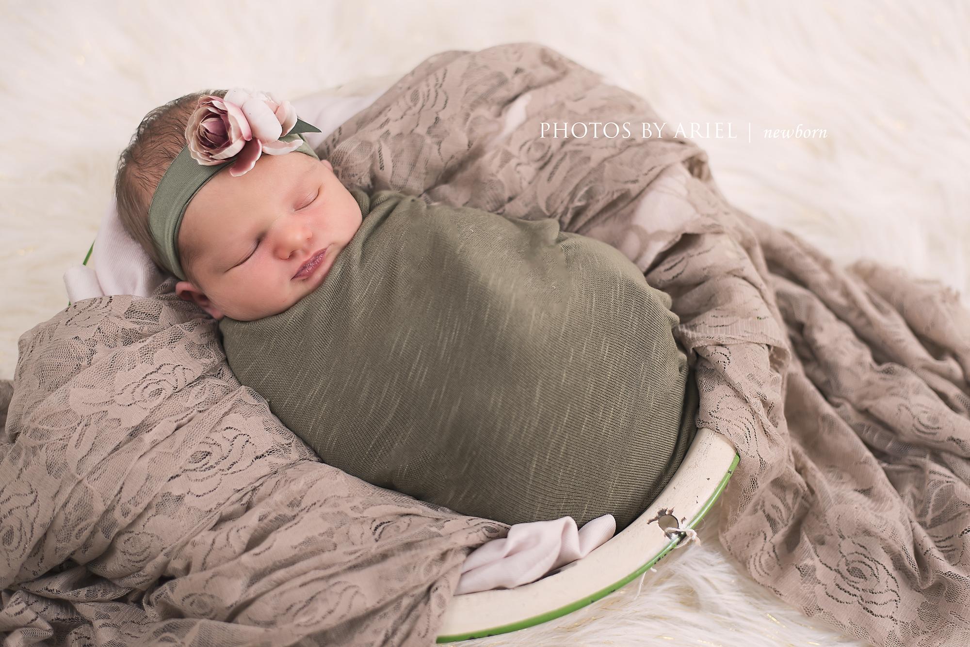 baby girl in basin