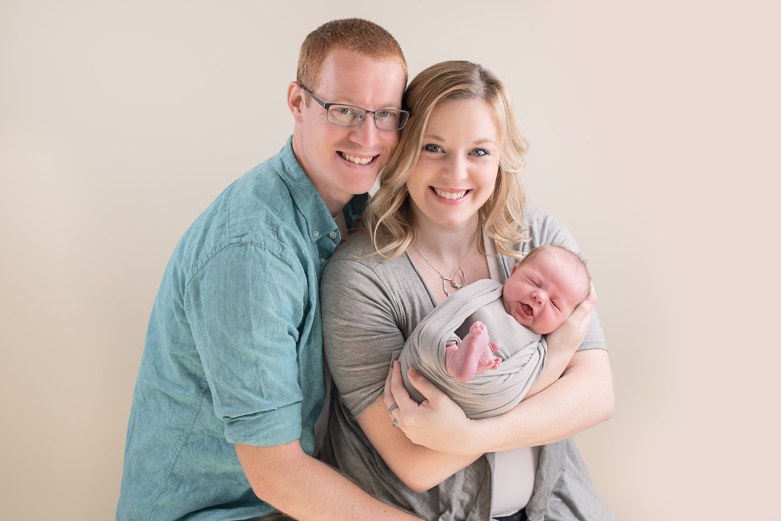 family of three family newborn picture