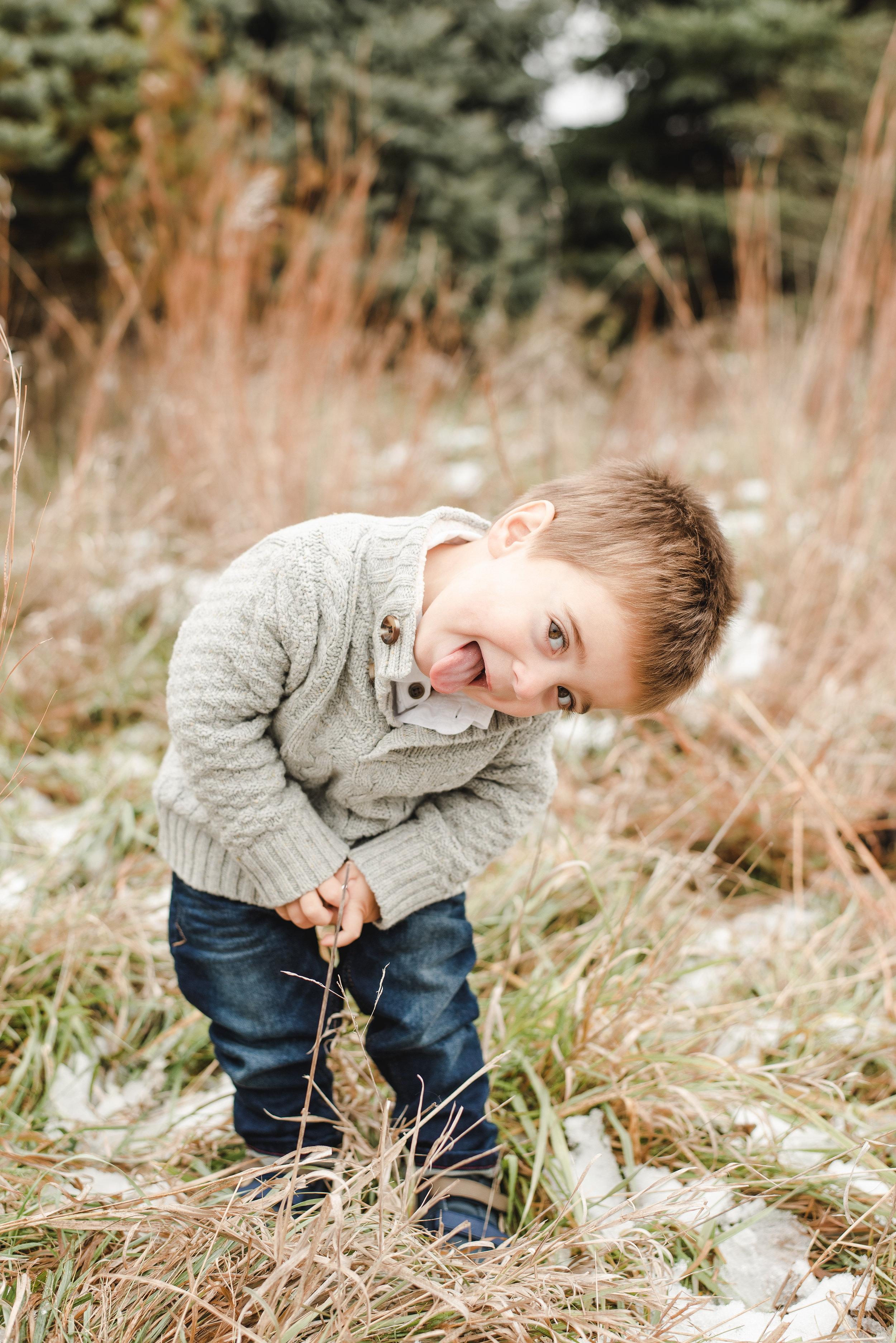 little boy being silly