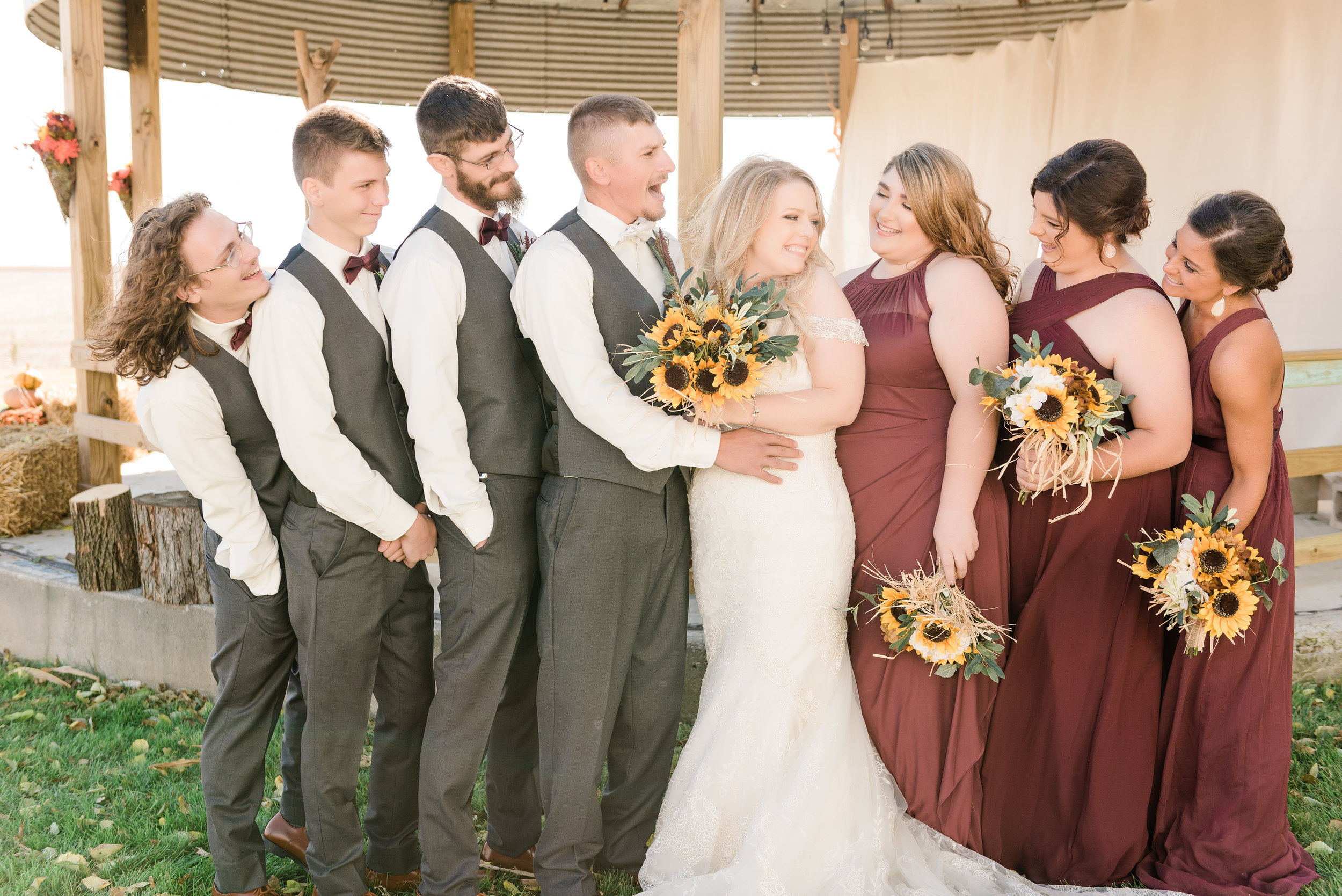 bridal party laughs
