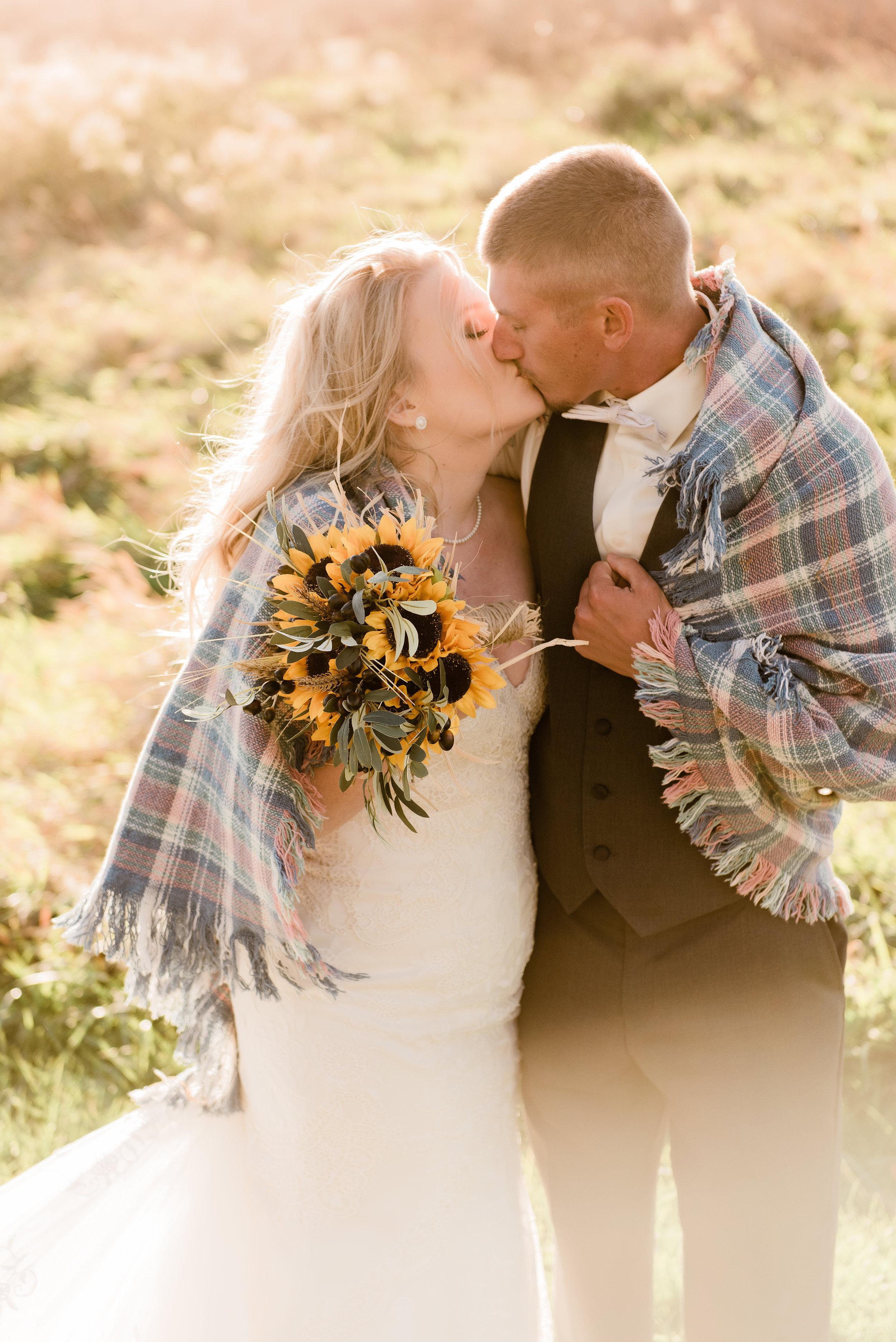 kiss under blanket