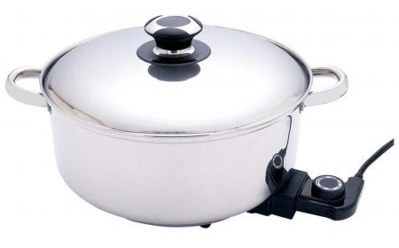Precise Heat 12-Inch Surgical Stainless Steel Deep Electric Skillet/Slow Cooker
