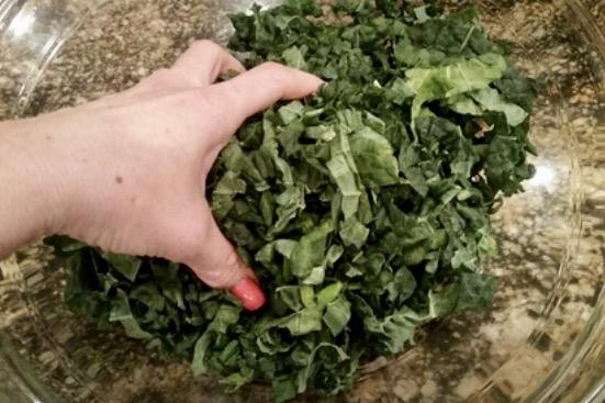 massage to tenderize the kale - sunny side kale goodness - www.newtritionny.com