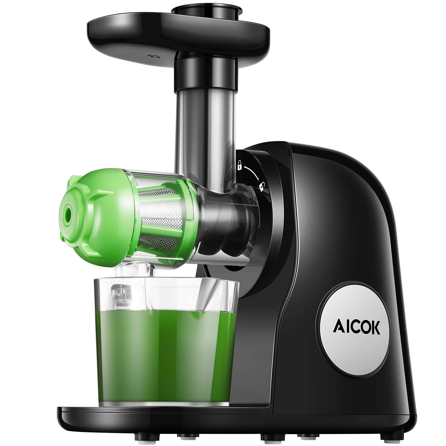 AICOKSlow Masticating Juicer - - Masticating juicers are the superior juicers because they get substantially more nutrition out of your fruits and veggies. Because they create almost no heat or friction, there are more vitamins, enzymes, minerals, trace minerals and nutrients reserved in the juice. There is also less foaming and no clogging.- This unit is quiet, BPA-free, and super easy to clean with dishwasher-safe parts.