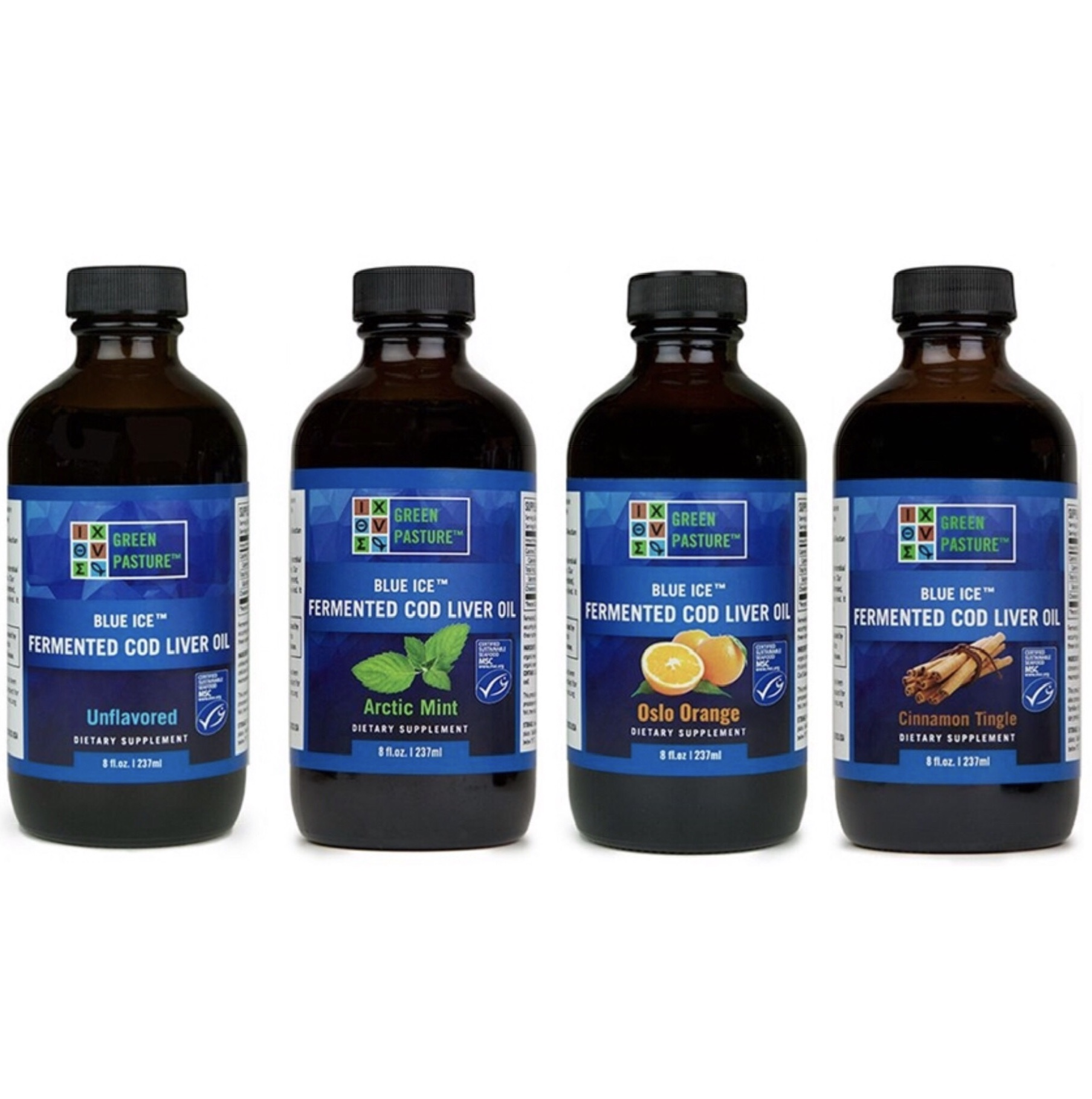 GREEN PASTURE Blue Ice Fermented Cod Liver Oil - - high in Vitamins A and D,which are powerful antioxidants, and a great source of Omega-3 fatty acids- helps reduce inflammation, neutralize free radicals, improve arthritis symptoms, reduce joint pain, lower risk of heart disease, and improve symptoms of anxiety and depression- supports strong,healthy bones- fermentation enhances nutrient bioavailability and preserves nutrient integrity- Take 1/2 tsp of fermented cod liver and 1/2 tsp of skate liver oil daily▶️ Click on the FLAVOR you prefer below 👇🐟Original 🌱Arctic Mint ✨Cinnamon Tingle 🍊Oslo Orange (my preference is Arctic Mint)