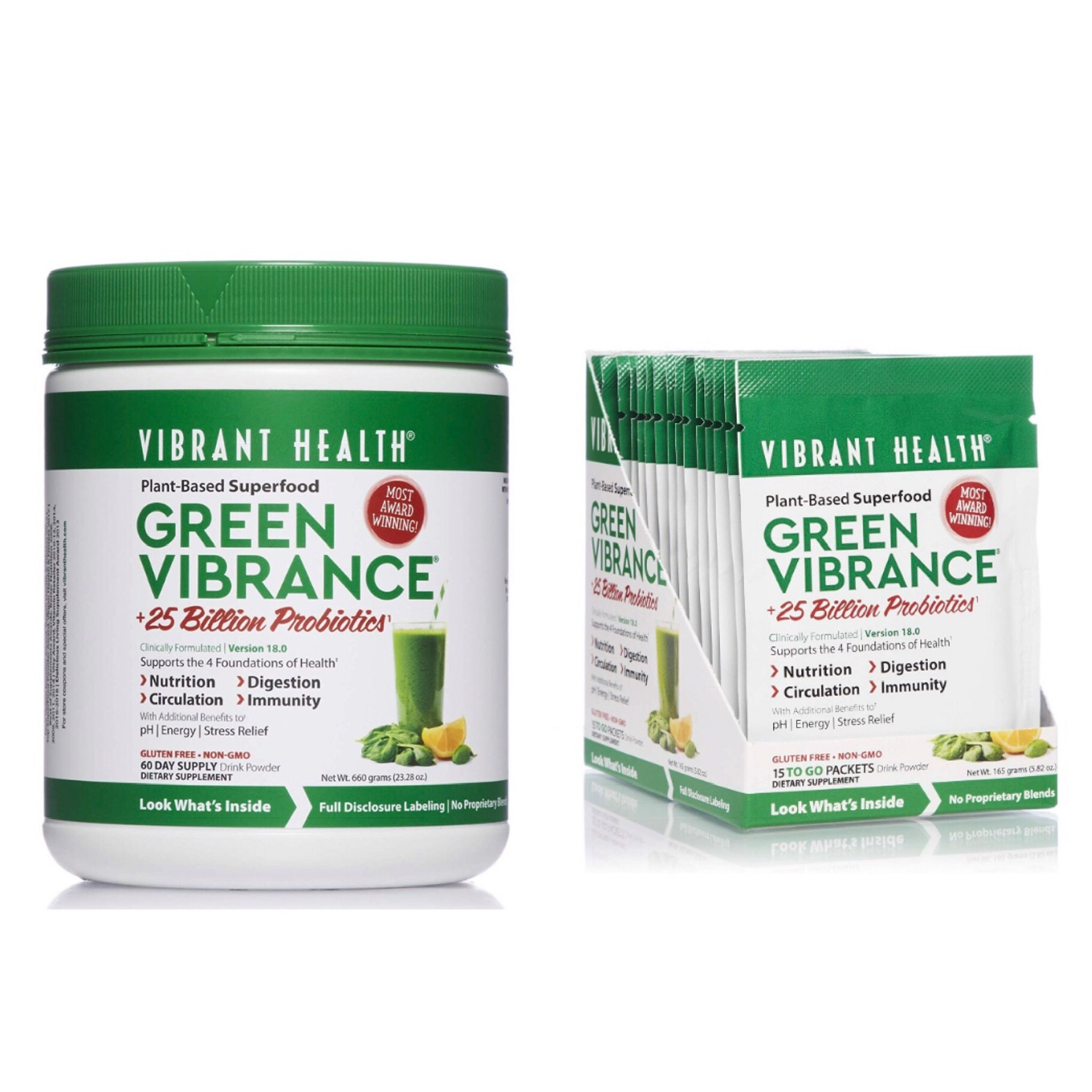 VIBRANT HEALTH Green Vibrance - - plant-based advanced daily superfood- if you aren't eating enough greens, this will provide all the nutrients you need and more!- so nutritious, it can take place of your daily multi▶️ for TRAVEL PACKETS, click HERE 💼