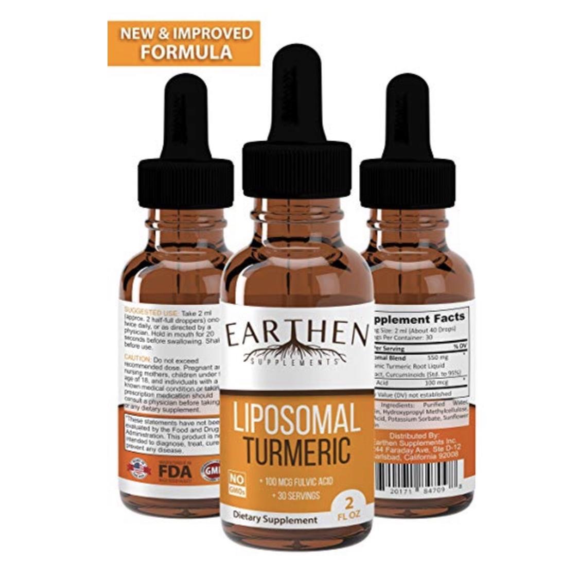 EARTHEN Organic Liposomal Turmeric - Liquid, liposomal turmeric with added fulvic acid means fast, maximum absorption and bioavailability