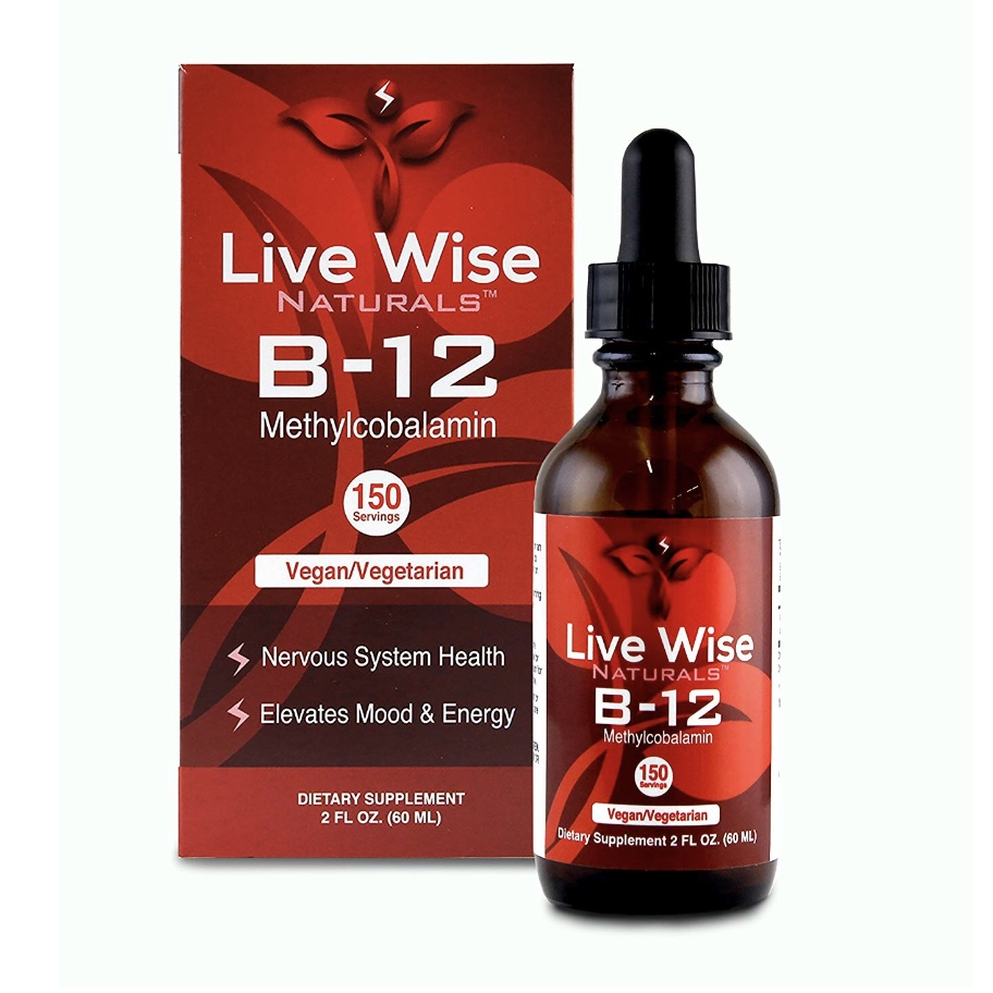 LIVE-WISE NATURALS Vitamin B-12 Methylcobalamin - Sublingual liquid drops are the optimal delivery method for maximum absorption- Methylcobalamin is superior to Cyanocobalamin (used by other B-12 supplements because it's cheaper) and does not contain any cyanide, a known poison