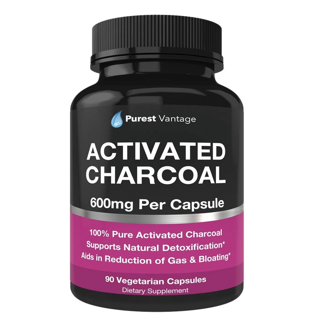 PUREST VANTAGEActivated Charcoal - - these 100% pure organic activated charcoal capsules should be in EVERY medicine cabinet at all times- effective treatment for food poisoning, drug overdoses, stomach bugs, nausea, vomiting, hangovers, and the stomach flu- quickly reduces gas and bloating- detoxify your body- can be used to whiten teeth