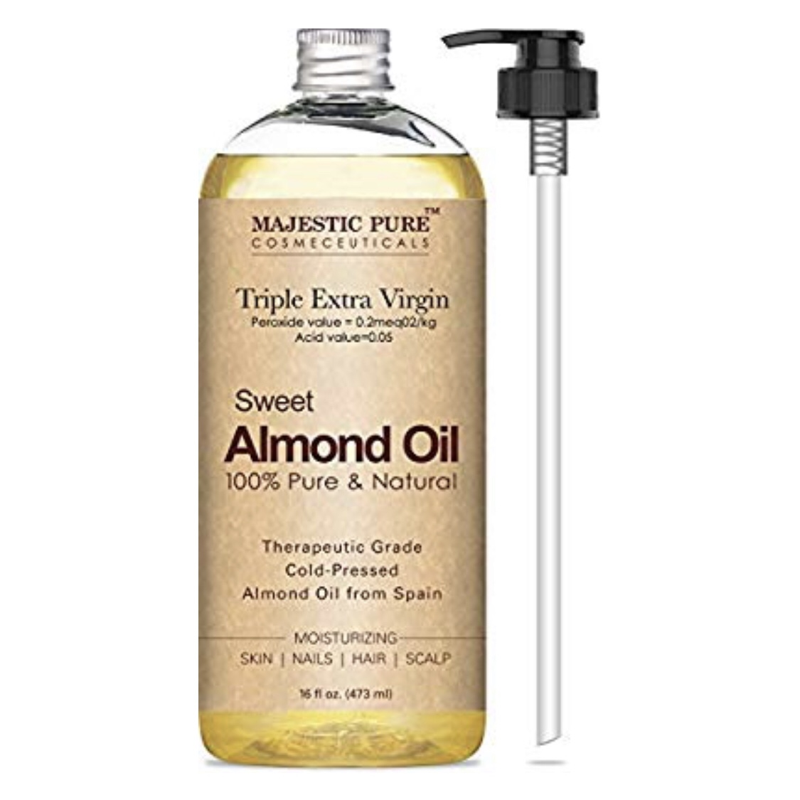 MAJESTIC PURE Sweet Almond Oil - - pure, triple grade A, cold pressed and therapeutic grade almond oil- contains high levels of protein which makes it a prime ointment or hydrating mask for your hair- rich in vitamins and antioxidants, it quickly absorbs and deeply penetrates to nourish and hydrate dry skin- use it right out of the shower before drying off to lock in moisture