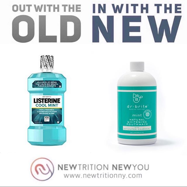 LET'S TALK MOUTHWASH👅🌱 Mouthwash (e.g., salt rinses, vinegar, plants) has been around for thousands of years. Listerine was introduced in 1870s & used as an antiseptic & floor cleaner! Sales took off in 1920s, when it was marketed as a cure for chronic halitosis. . Today drugstore shelves are teeming with mouthwashes, & many are convinced that they're key to oral health. . SO WHAT'S SO BAD ABOUT MOUTH WASH?💁♀️ There are more bacteria in your mouth than people on Earth, but the majority of these organisms protect you against more dangerous bacteria. Antibacterial mouthwash kills off all bacteria, even the good guys. This can result in an overgrowth of pathogenic bacteria & lead to infection. . What about the ingredients? Let's look at what you're swishing around in your mouth.🧐 (see detailed descriptions of each ingredient in comments, but many of these are irritants and are linked to cancer and endocrine disruption). . 🚫ALCOHOL 🚫SODIUM LAURYL SULPHATE 🚫ARTIFICIAL DYES 🚫FLAVORS 🚫ACIDIC STABILIZING AGENTS 🚫FLUORIDE 🚫SODIUM BENZOATE 🚫PARABENS 🚫 FORMALDEHYDE (aka quanternium-15) 🚫CHLORHEXIDINE 🚫COCAMIDOPROPYL BETAINE 🚫SODIUM SACCHARIN . READY FOR THE CLEAN SWAP?🙋♀️ If you brush & floss properly, mouthwash is NOT anecessarycomponent in oral health. But if you love the feeling of rinsing, try a safer alternative like Dr. Brite Natural Whitening Mouthwash with Activated Charcoal (tap link in bio & click this same image). . It's organic, alcohol-, cruelty-, & fluoride-free, contains no artificial colors, & comes in a BPA-free container. Best of all, it's EWG-verified, meaning that it meets EWG's strictest standards & contains none of EWG's chemicals of concern. . . . . . #knowbetterdobetter #ditchandswitch #outwiththeold #inwiththenew #outwiththeoldinwiththenew #foodforthought #healthieroptions #healthierchoices #fitfam #processedfood #cleaneating #healthyeating #healthyfoodchoices #foodfacts #smarteatingchoices #healthylifestyle #itsnotadietitsalifestyle #newtritionny #new