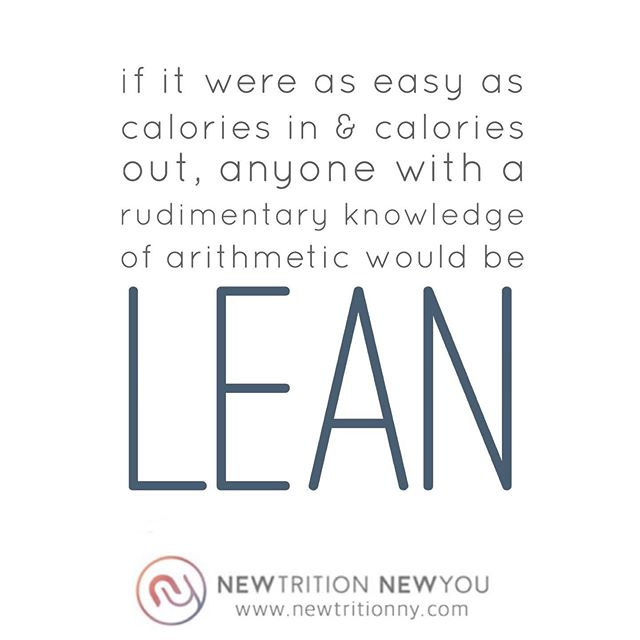 "NO ONE DIET FITS ALL! . This is exactly what I say to each client when we commence one of my programs. After all, if it were as easy as calories in/calories out, anyone with a rudimentary knowledge of arithmetic would be lean. . Weight loss is far more complex than a simple formula, so instead of just stamping out one-size-fits-all diets with fancy names, like the ones pushed by every self-proclaimed fitness personality on Instagram, my clients and I embark on a self-exploration and nutrition education journey to learn what works (and doesn't) for their body and customize a program specific to their individual needs. . I'm happy that science is finally catching up 😬 . ""A study concluded that genes play a limited role in how a person processes fats and carbohydrates. The more important factors in how our bodies metabolize food, it seems, are environmental: sleep, stress, exercise and the diversity and population of our individual gut microbiome..."" [Tap on the link in bio and then this image for the full article from New York Times.] . Find out more about me or schedule a consultation: ☎️917-773-8095 📧info@newtritionny.com 💻www.newtritionny.com . . . . . #allcaloriesarenotcreatedequal #itsnotadietitsalifestyle #diet #caloriecounting #fitfam #morethanweightloss #countingcalories #metabolism #weightlossjourney #weightloss #loseweighttips #loseweight #newtritionny #notthatsimple #fatloss #guthealth #fitgirls #bikinibody #summerbody #weightlosspecialist #bikiniready  #newtritionnewyou #newyou https://www.nytimes.com/2019/06/10/health/nutrition-diet-genetics-food.html"