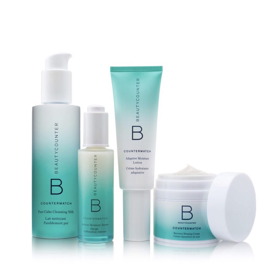 BEAUTYCOUNTER Countermatch Skincare Regimen - The Countermatch regimen is the ultimate solution for hydrated, radiant, and youthful-looking skin. Powered by Beautycounter's patented Bio-Mimic Technology, these products harness the unique life-giving properties of plants to match the composition of skin, giving it precisely what it needs and nothing it doesn't.You can purchase each of the 5 products in this regimen separately or save 10% when you purchase the entire collection, which I strongly recommend for best results. This collection consists of:1. Pure Calm Cleansing Milk2. Intense Moisture Serum3. Adaptive Moisture Lotion4. Recovery Sleeping Cream5. Countermatch Eye Rescue CreamShop RISK FREE! Return anything with no questions asked within 60 days. You even get return shipping free!SUBSCRIBE to my newsletter and get a $15 Gift Certificate for Beautycounter products.
