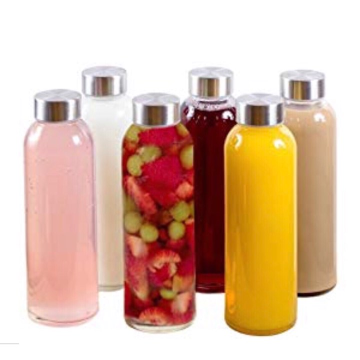 BRIEFTONS Glass Water Bottles - 18 ounce, stainless steel leak proof lid reusable drinking bottles. CLICK HERE to see why your should replace all your plastic with glass.▶️ CLICK HERE to get the insulated, anti-slip, protective sleeves