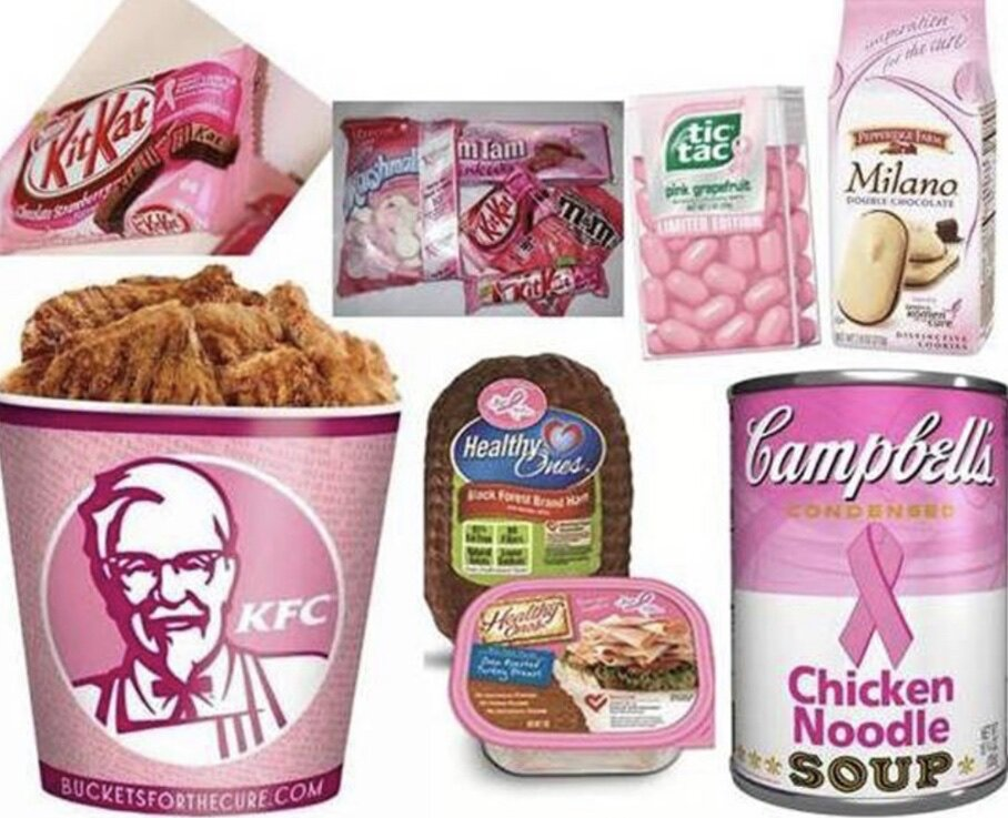 Fried chicken, processed meats, and candy for the cure? Let's get real! Think before you buy pink!