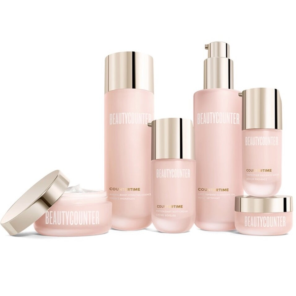"""BEAUTYCOUNTER Countertime """"Retinatural"""" Skincare Regimen - An innovative 5-step skincare collection that visibly firms skin and reverses signs of aging using a patented """"Retinatural"""" complex. The Retinatural complex consists of bakuchiol, which delivers skincare results comparable to Retinol (but without the its health risks) and Swiss Alpine rose, which boosts the skin's antioxidant defense.You can purchase each of the 6 products in this regimen separately or save 10% when you purchase the entire collection, which I strongly recommend for best results. This collection consists of:1. Lipid Defense Cleansing Oil2. Mineral Boost Hydrating Essence3. Tripeptide Radiance Serum4. Antioxidant Soft Cream (Day)5. Tetrapeptide Supreme Cream (Night)6. Ultra Renewal Eye CreamShop RISK FREE! Return anything with no questions asked within 60 days. You even get return shipping free!SUBSCRIBE to my newsletter and get a $15 Gift Certificate for Beautycounter products."""