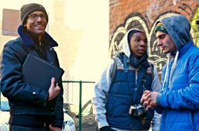 Writer/Director Clayton Dean Smith with Lead Actor Corwin C. Tuggles and Cinematographer Giacomo Belletti on set
