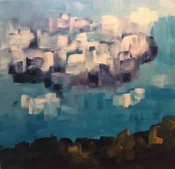 "Cloud, 12""x12"" acrylic on canvas board"