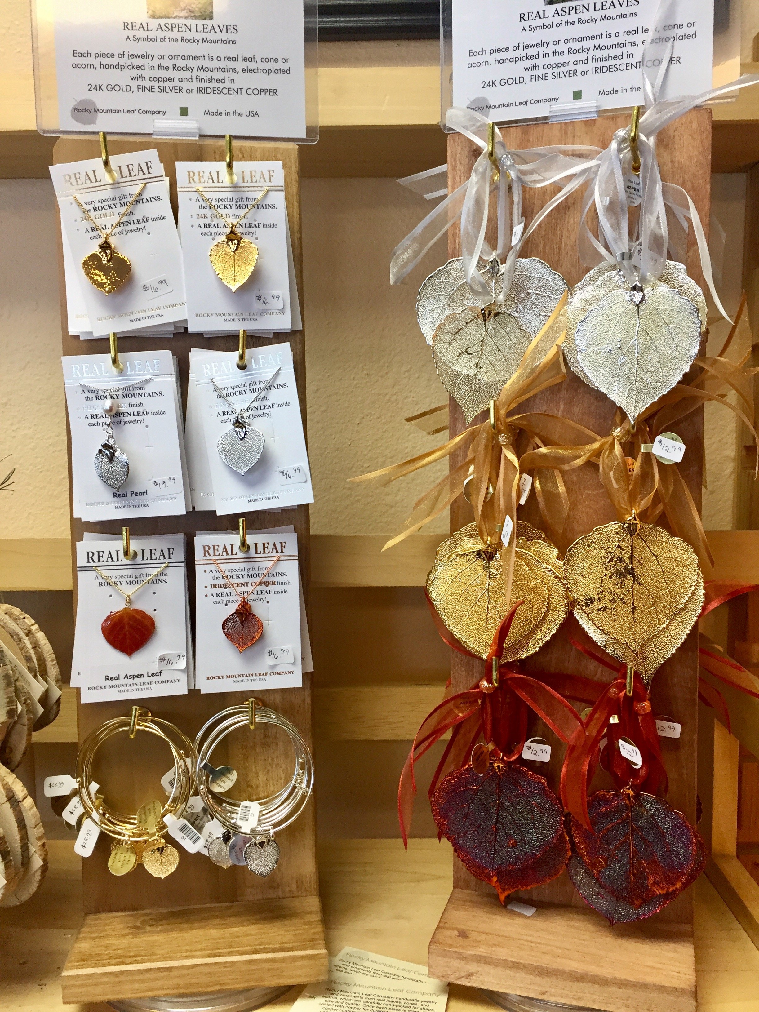 Rocky Mountain Leaf Company makes necklaces, bracelets and earrings--as well as ornaments