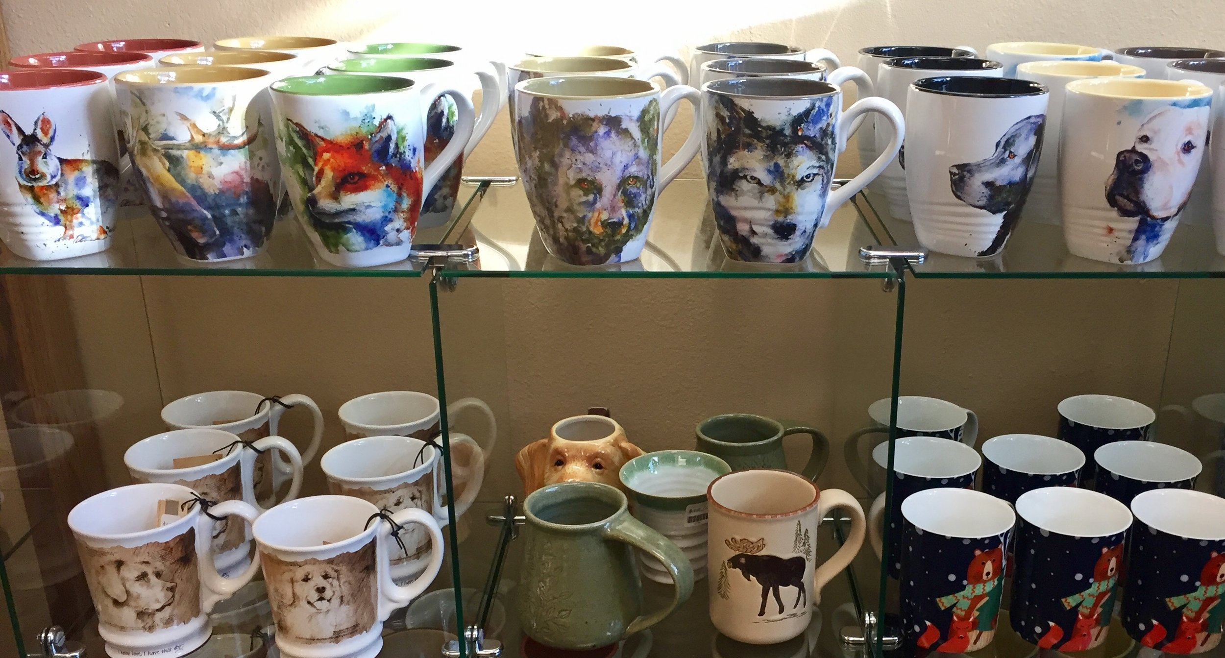 Speaking of warm drinks...this is just a small sample of the mugs we have available here at Frisco Fun & Formal!