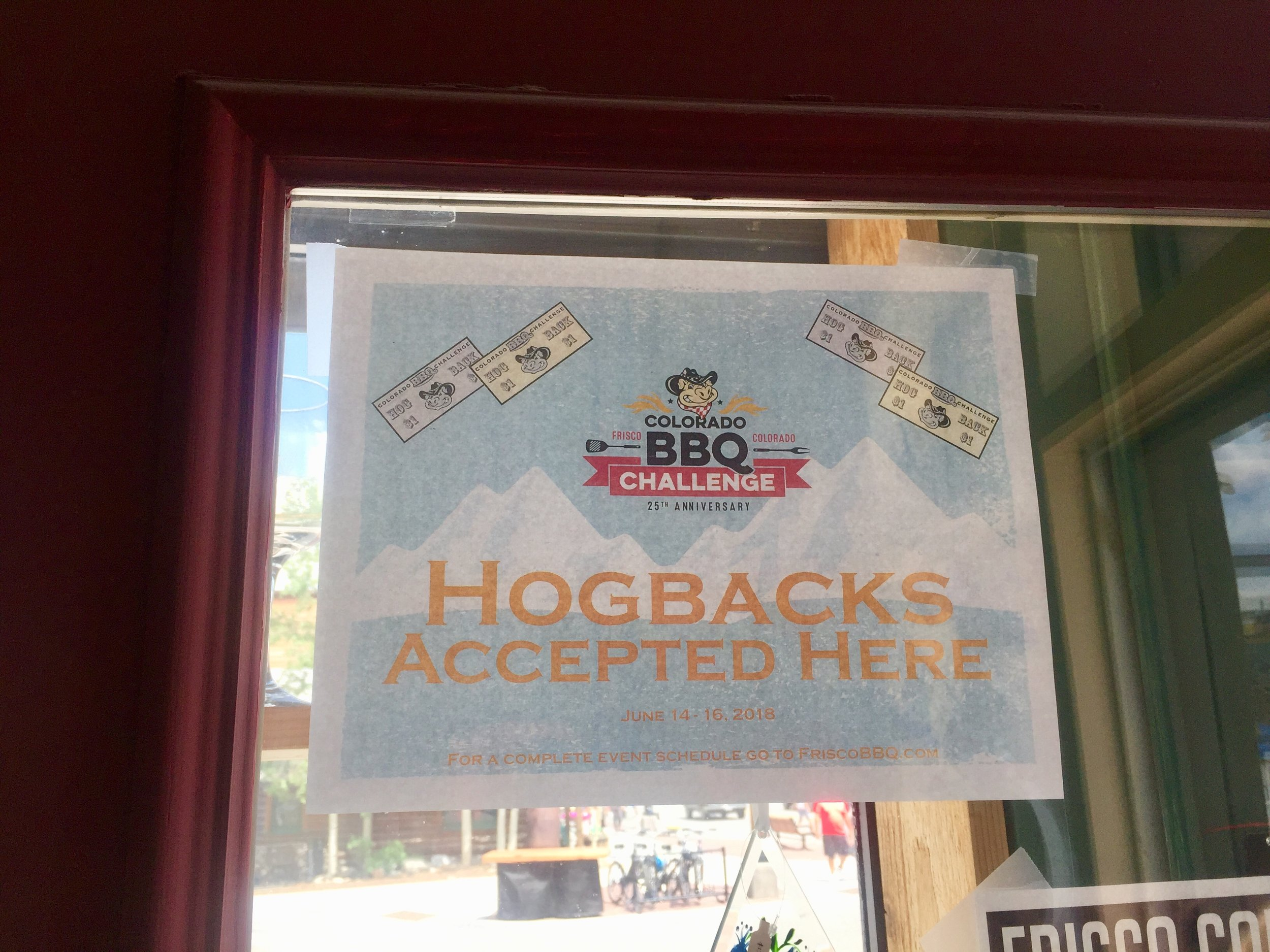 Don't forget to trade in some money for Hogbacks, the official currency of the Frisco BBQ Challenge! If you end up with some Hogbacks left over, you can use them same as cash in several local shops, including ours!