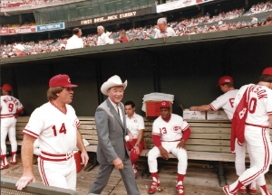 Roy Rogers and Pete Rose in the Reds Dugout