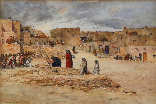 "Frank Paul Sauerwein, Kiva at Acoma Pueblo, Watercolor, 11 1/2"" x 8"" (Est. $6000-9000)"