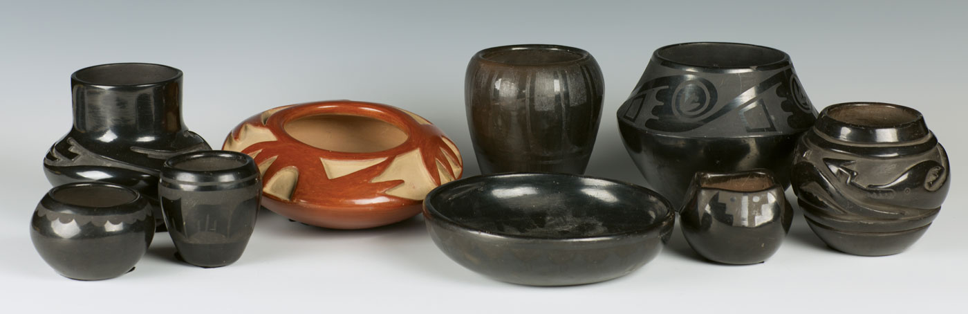 Lot 373 - Collection of San Ildefonso & Santa Clara Pottery Sold $605