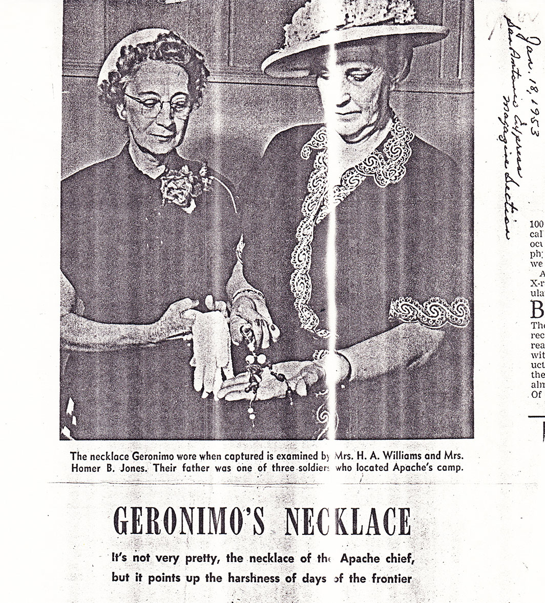 Copy of 1958 newspaper article featuring the story of Geronimo's necklace.