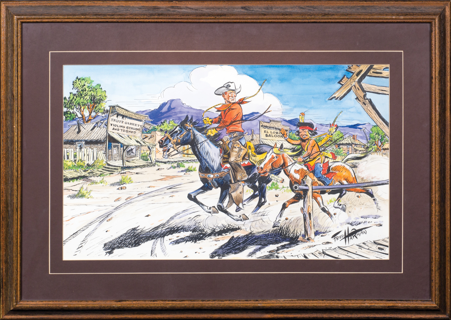 "Lot 164, Fred Harman, Red Ryder Illustration, Watercolor & ink, 12 1/2"" x 21"" Provenance: From the Estate of Snuff Garrett. Sold $5,015"