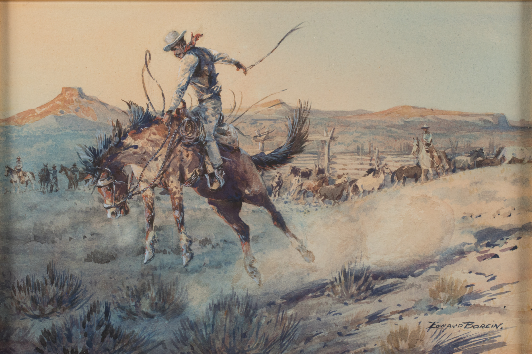 """Edward Borein, A Bucking Bronco,Watercolor ,8 3/4"""" x 13 1/4"""""""