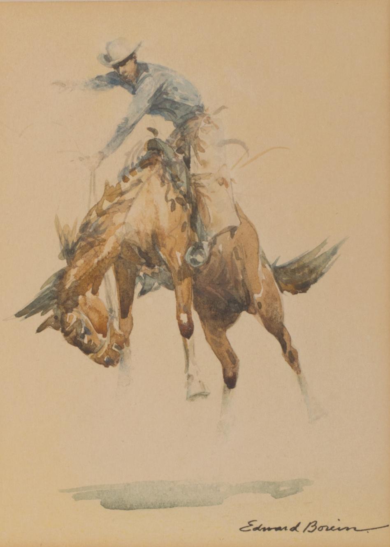 "Edward Borein, Bucking Bronco, Watercolor,7 1/4"" x 5 1/2"""