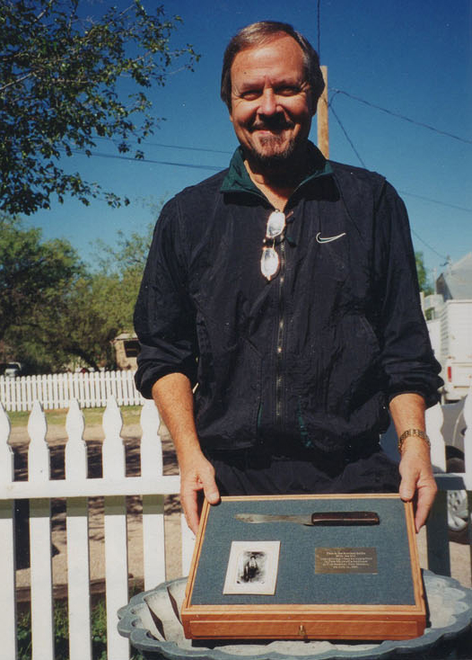 Bob McCubbin the day he took possession of the Billy the Kid knife.
