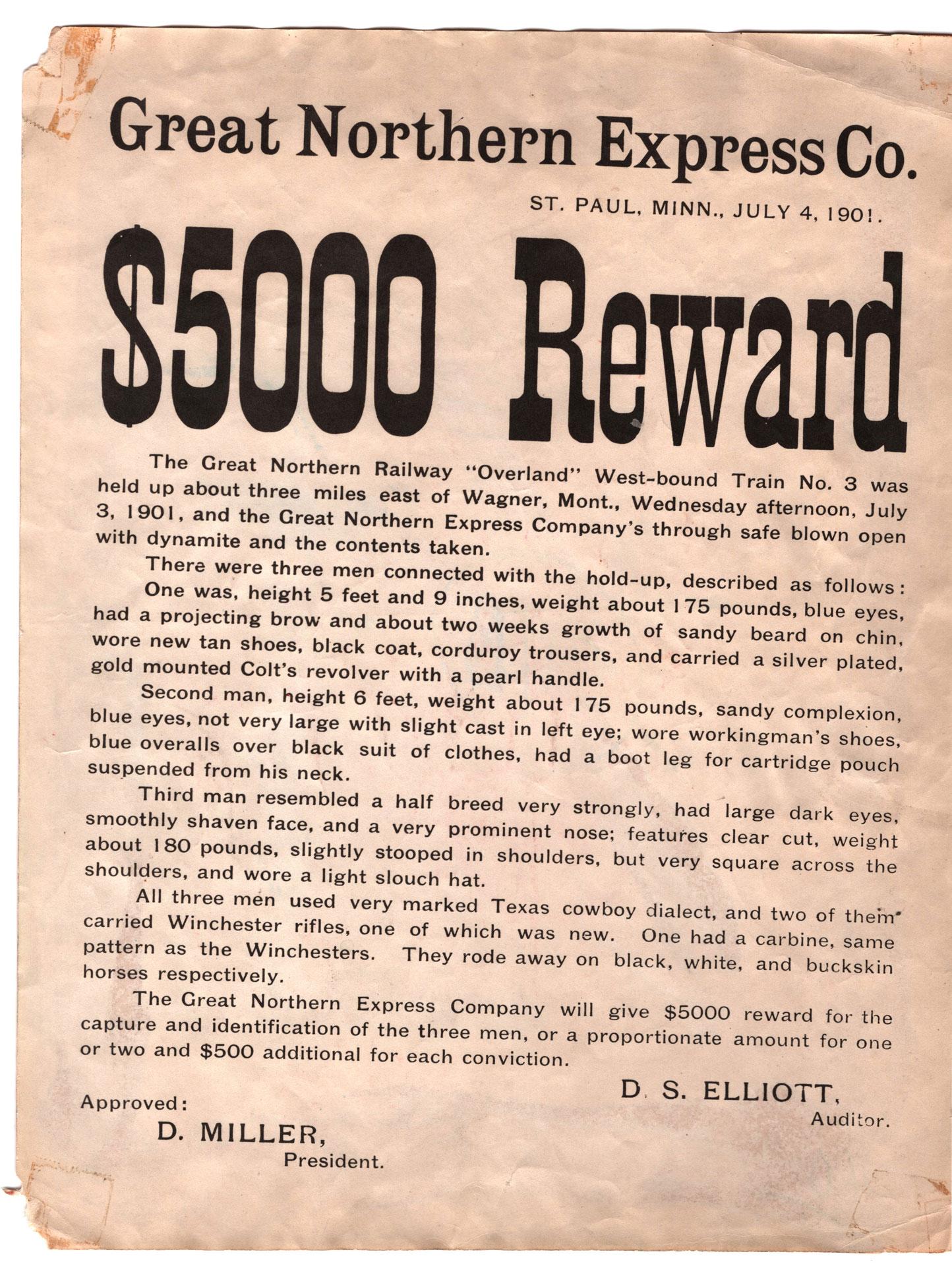 Wild Bunch Reward Poster - Lot 648