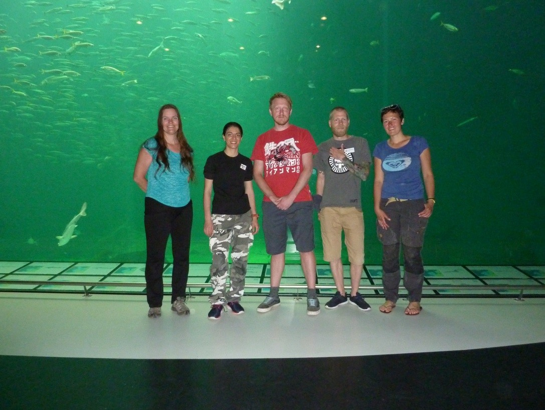 Some of the team posing in front of the big pelagic aquarium.