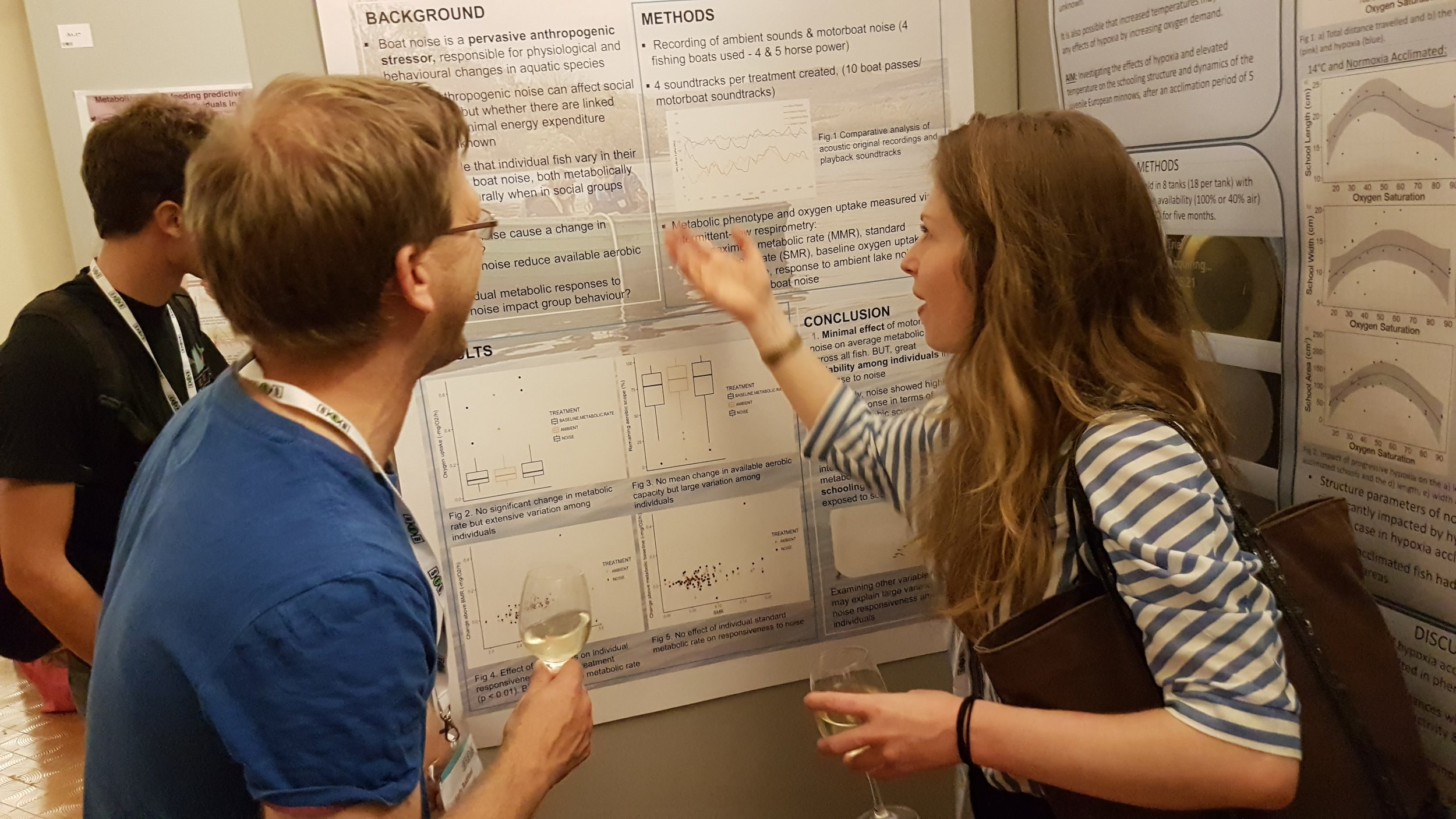 Marie Levet with her poster on how boat noise affects fish metabolic rate.