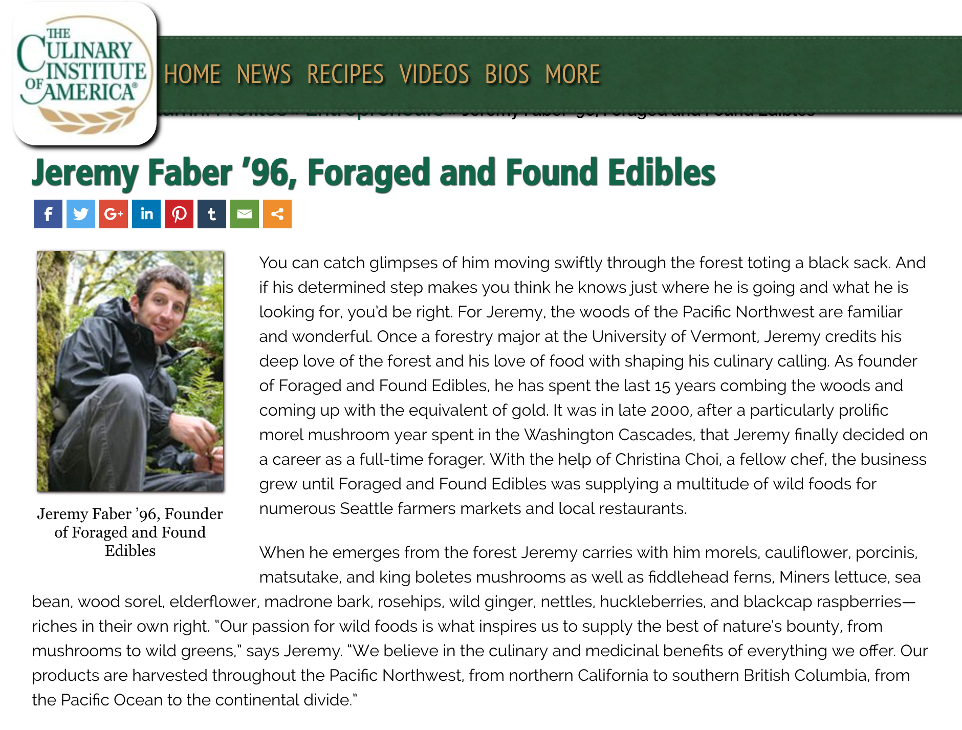 Culinary Institute of America Alumni Magazine:  Jeremy Faber, '96, Foraged and Found Edibles