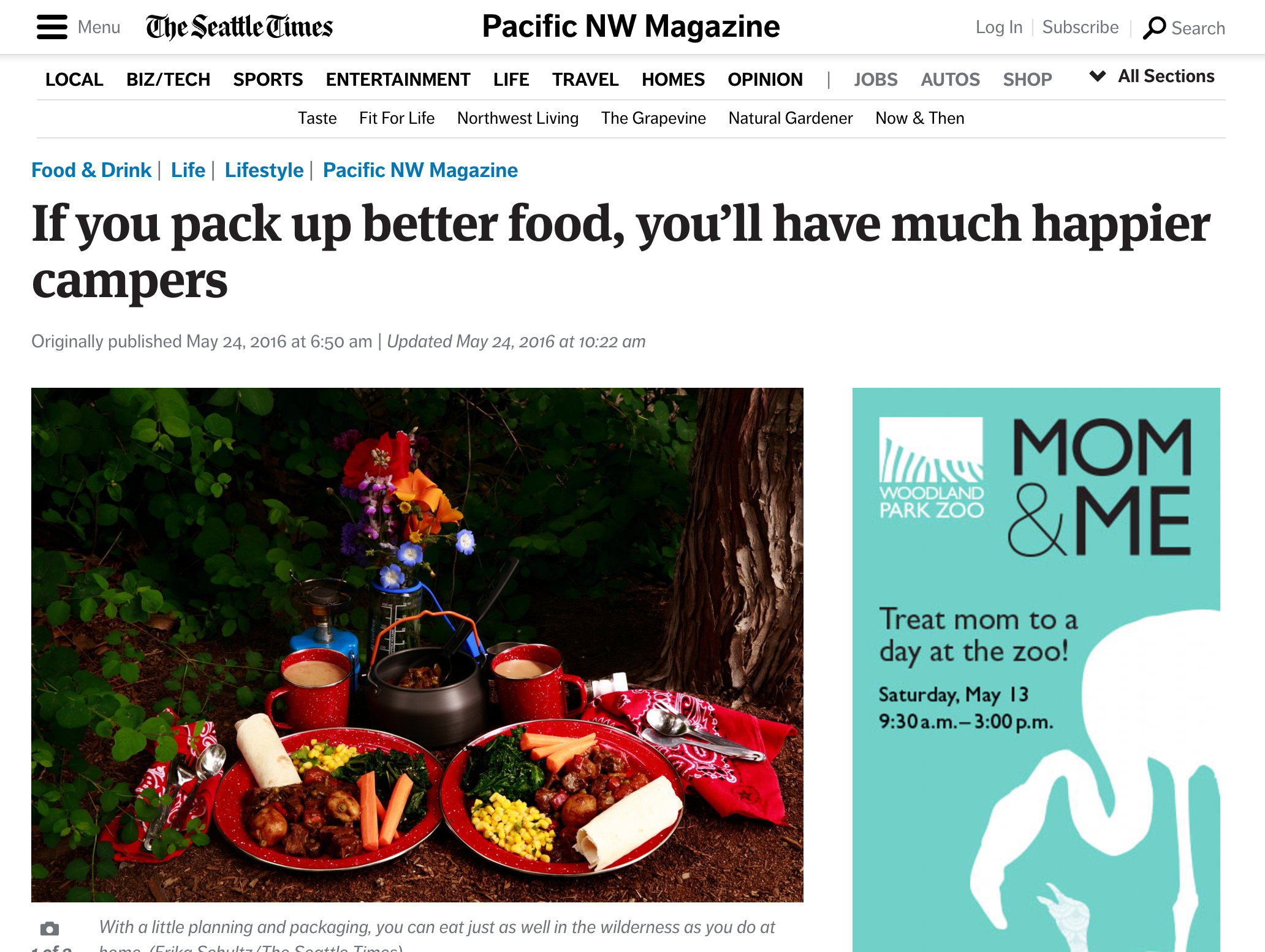 Seattle Times:  If You Pack Up Better Food, You'd Have Happier Campers
