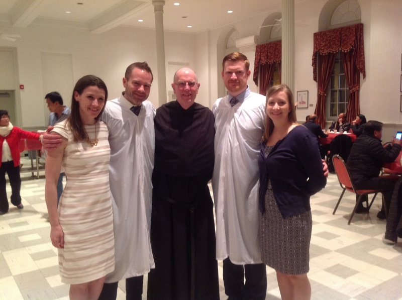 Jerre with his sponsor Christina Riggs and Matt Currier with his sponsor Erica Hollenbach, with father Bill Waters, OSA