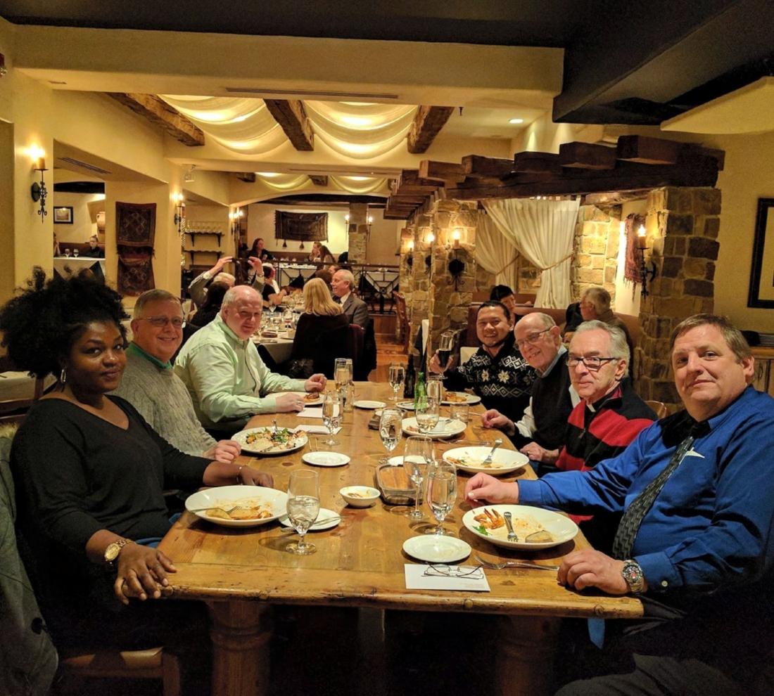 Parish Staff & Friars Enjoying A Pre-Christmas Lunch at Estia Mediterranean   Restaurant (Center City Philadelphia) after seeing the Nutcracker Ballet at the Academy of Music.