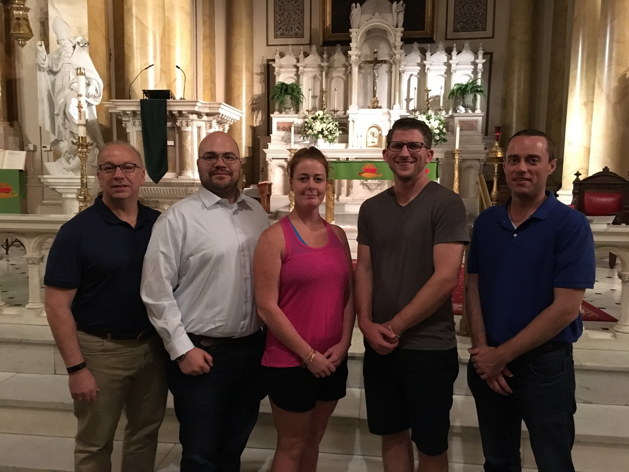 Evan Schaffner, Miles Humenansky, Katie Kenny, Scott Gillenwater, and Mike McGrory are preparing for the Sacraments of Initiation at Easter 2018.
