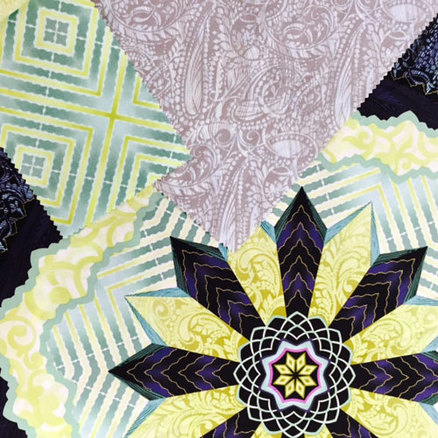 Mandalas, paisleys, and beautiful natural color blocked prints on gorgeous cotton. There were even beautiful quilted pieces.  This is so on trend with the ideas of ritual, of craftsmanship and DIY, as well as a nod to the 1970's.  Right on target .  -Janna Stark, Promostyl