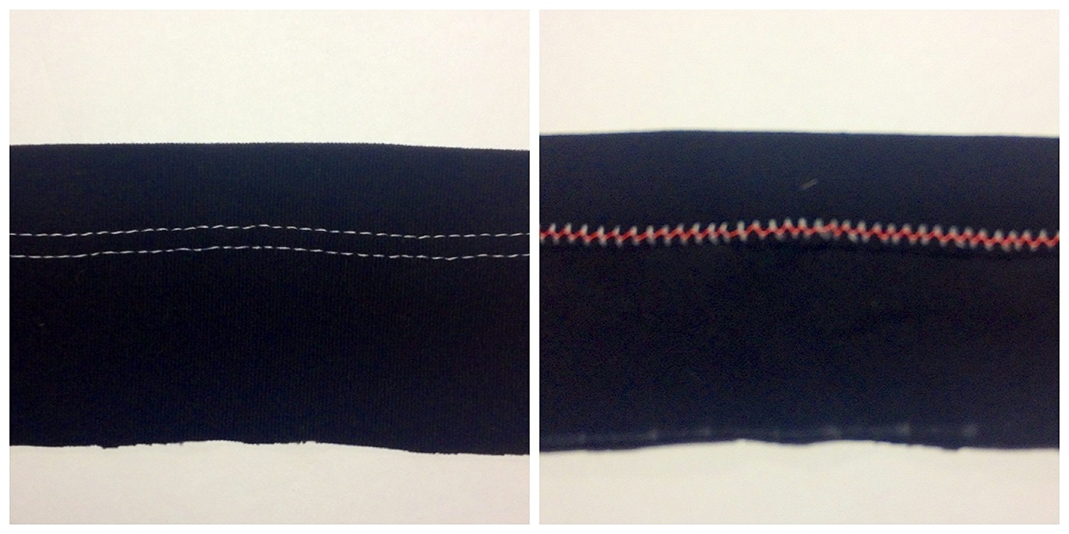 Front and back of a tee shirt seam.