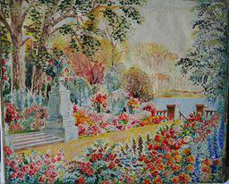 Here is an early picture he painted, as a very young man, of an imaginary garden. Quite enchanting we hope you think.